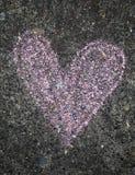 Pink chalk heart of sidewalk royalty free stock photo