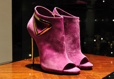 Pink chamois women  shoes Stock Photos