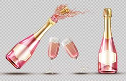 Free Pink Champagne Explosion Bottle And Wineglass Set Stock Images - 163157984