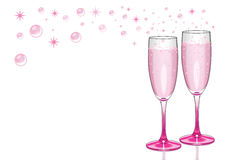 Pink Champagne Flutes with Bubbles. Champagne flutes with pink champagne with bubbles and sparkles Royalty Free Stock Photos