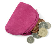 Pink change purse with UK pound coins, over white Royalty Free Stock Photos
