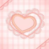 Pink checked background with two hearts Royalty Free Stock Photos