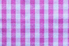Pink checked cotton fabric horizontal image.  Stock Image