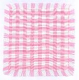 Pink checkered. Fabric with fringes. Suitable for backgrounds and scrapbooks Stock Photo