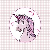 Pink checkered background with a happy unicorn in frame royalty free stock photos