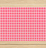 Pink Checkered Tablecloth on White Oak Wooden Table Royalty Free Stock Images