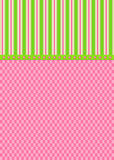 Pink Checks and Green Stripes Greeting Card. Designed with pink checked pattern and pink and green striped topper. With a green with pink dots ribbon to seperate stock illustration