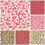Pink Cheetah Print Seamless Pattern Set. Animal Background Royalty Free Stock Photos