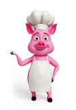 Pink chef with presenting pose. Pink chef with presenting some thing stock illustration
