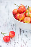 Pink cherries. An old white board Stock Photos