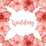 Pink cherry blossom or sakura flowers frame for wedding design royalty free illustration