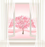 Pink cherry blossom tree view from a window. Vector Stock Images