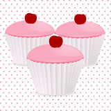 Pink cherry cupcakes Royalty Free Stock Image