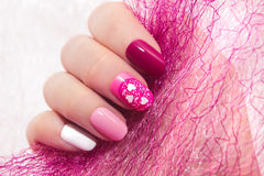 Pink cherry nail design royalty free stock image