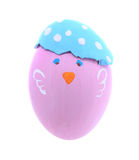Pink chicken easter egg isolated on white background Stock Photo