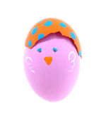 Pink chicken easter egg isolated on white background Stock Images
