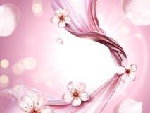 Pink chiffon elements. Flying cloth on pink glittering background in 3d illustration, sakura petals elements Stock Photos