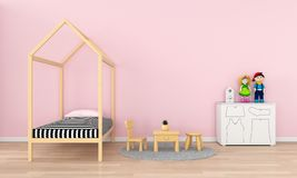 Pink child room interior for mockup, 3D rendering royalty free illustration