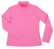 Pink child turtleneck. Isolated on white Royalty Free Stock Photography