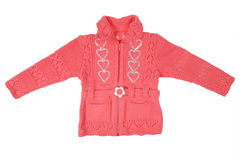 Pink children knitted jacket Royalty Free Stock Photos