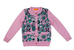 Pink Children`s knitted sweater with pattern. Isolate on white Stock Images
