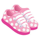 Pink childrens or young adult shoes, pair kids sneaker, pink girls shoes. Vector illustration Stock Images
