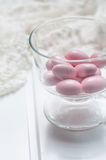 Pink chocolate chips Stock Photography