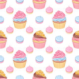 Pink and chocolate cream cupcakes and meringues vector seamless pattern. Cute pink and chocolate cream cupcakes and meringues vector seamless pattern on white Stock Photography