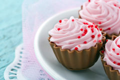 Pink chocolate cupcake pralines Stock Photos