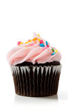Pink chocolate cupcakes on white Royalty Free Stock Images