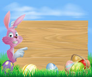Pink chocolate eggs sign Easter bunny Royalty Free Stock Image