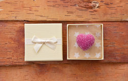 Pink chocolate in gift box Royalty Free Stock Image