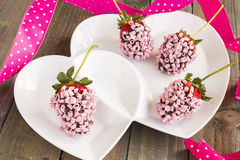 Pink Chocolate Strawberries Stock Images