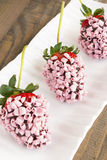 Pink Chocolate Strawberries Royalty Free Stock Photography