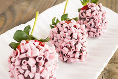 Pink Chocolate Strawberries Stock Photography