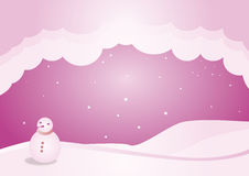 Pink christmas background. A pink christmas background with snowman,clouds and snowflakes.EPS file available Royalty Free Stock Image