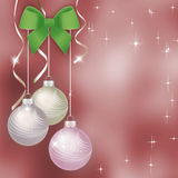 Pink Christmas background with Christmas balls Stock Photos