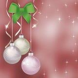 Pink Christmas background with Christmas balls Stock Photos