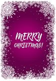 Pink Christmas background with frame of snowflakes Royalty Free Stock Photo