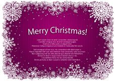 Pink Christmas background with frame of snowflakes Royalty Free Stock Image