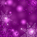 Pink Christmas background with snowflakes Stock Photography