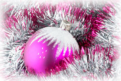 Pink christmas ball Stock Photos
