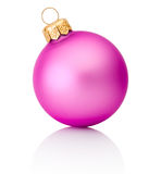 Pink christmas ball Isolated on white background Stock Photos