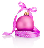 Pink Christmas ball with ribbon bow Isolated on white background Stock Image
