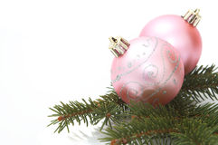 Pink christmas balls Stock Photo
