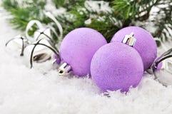 Pink christmas balls Stock Photos