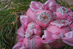 Pink christmas balls on fir branches. Studio photography. Object shooting Stock Images
