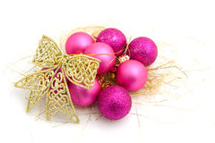 Pink christmas balls with golden ribbon Stock Photography
