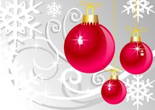 Pink christmas balls on grey background Royalty Free Stock Photography