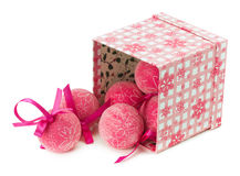 Pink Christmas balls with ornament isolated on the white backgro Stock Photography